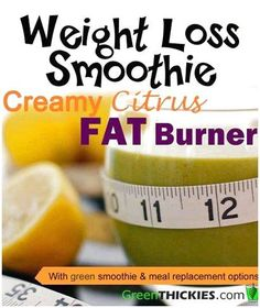 Creamy Citrus Fat Burner Smoothie: Green Thickie's Weight Loss Smoothie: This Creamy Citrus Fat Burner Smoothie will rev up your metabolism and melt away pounds. This weight loss smoothie is not only healthy but tastes amazing! Fat Burner Smoothie, Fat Burning Smoothies, Juice Smoothie, Smoothie Drinks, Weight Loss Smoothies, Healthy Smoothies, Healthy Drinks, Smoothie Recipes, Green Smoothies