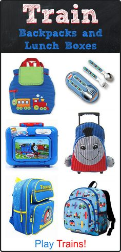 Back to School: Train Backpacks and Lunch Boxes for Kids