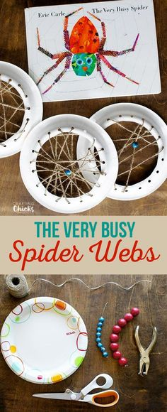 The Very Busy Spider Webs craft! A fun way to work on fine motor skills and talk about how spiders spin their webs with kindergarten or preschool kids! A great craft for fall time! crafts activities for kids Kindergarten Crafts, Preschool Crafts, Crafts For Kids, Arts And Crafts, Craft Kids, Spider Art Preschool, Art Crafts, Kids Diy, Spider Web Craft