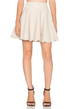 J.O.A. Scallop Hem Skirt in Ivory