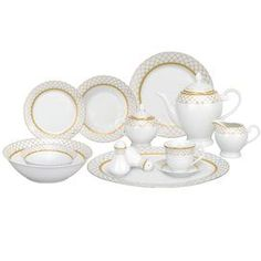 """Crafted from elegant porcelain and featuring diamond trellis detailing, this stately dinnerware set serves 8 guests in refined style.     Product:  8 Dinner plates  8 Soup bowls  8 Salad plates  8 Mugs 8 Bowls  8 Saucers  1 Platter  1 Serving bowl  1 Salt shaker 1 Pepper shaker 1 Teapot with lid 1 Creamer  1 Sugar bowl with lid Construction Material: PorcelainColor: WhiteFeatures:Oven safe to 350 degreesDimensions:  Dinner Plate: 10.5"""" Diameter Soup Bowl: 8.5"""" ..."""
