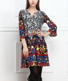 Loving this Red & Blue Abstract Button-Front Dress - Women on #zulily! #zulilyfinds