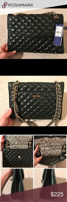 Rebecca Minkoff Quilted Affair w/ Studs New with tag, Rebecca Minkoff Quilted Affair with Studs in beautiful dark forrest green.  It has one zipper compartment and side pocket. Rebecca Minkoff Bags Crossbody Bags