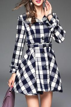 Dezzal - Dezzal Checked Belted Shirt Dress - AdoreWe.com