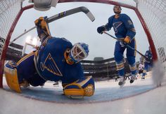 Blues vs. Blackhawks - 01/02/2017 - St Louis Blues - Photo Galleries Jake Allen #34 of the St. Louis Blues keeps his eye on the puck