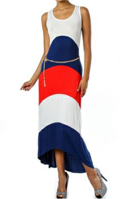 Color block maxis dress, with removable chain belt.  Available online at: www.luxefashionz.storeenvy.com