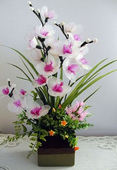 Handmade White Nylon Orchids  Arrangement