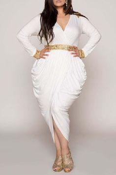 Hourglass Ivory Egyptian Harem Wrap Over Embellished Dress – CurveGirl Harem Dress, Peplum Dress, Plus Size Party Dresses, Handkerchief Dress, Evening Dresses, Formal Dresses, Plus Size Girls, Wedding Dress Shopping, Draped Dress