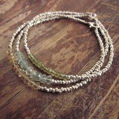 Green Onyx Friendship Bracelet Hill Tribe Silver por TwoFeathersNY