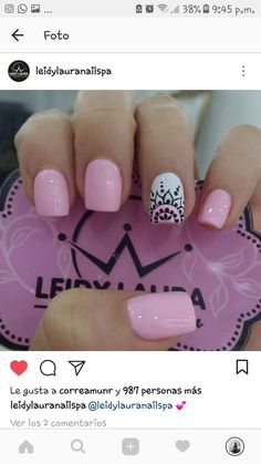 Nails French Largas Ideas The Effective Pictures We Offer You About nail trendy latest A quality Pink Nail Art, Pink Nails, Love Nails, My Nails, Mandala Nails, Pretty Nail Art, Creative Nails, French Nails, Nail Manicure