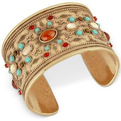 Lucky Brand Gold-Tone Beaded Cuff Bracelet ($59) ❤ liked on Polyvore featuring jewelry, bracelets, gold, colorful bangles, boho chic jewelry, tri color bangles, cuff bangle and beads jewellery