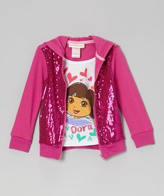 Take a look at this Pink Sequin Layered Zip-Up Hoodie - Toddler on zulily today!