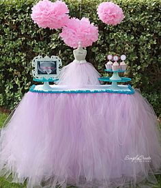 no-sew-tulle-table-skirt-diy, what a cute idea for a little girls birthday party
