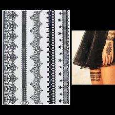 Tattoo Sticker 1PC Waterproof Black Henna Body Art Flower Temporary