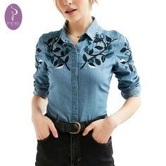 CMXCIX Estrenar Hojas de Otoño Camisa de Mezclilla Bordados Ropa Mujer  Jeans… Blusa De Mesclilla 12863ee59983c