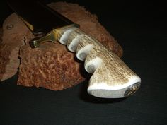 """Deer Stag Horn 19.5"""" Bowie Knife, Display Quality, Brass Hand & Blade Guards, Inlaid Texas Concho Butt Plate, leather sheath. via Etsy."""