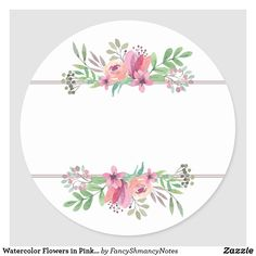 Watercolor Flowers in Pink, Circle Address Sticker Watercolor Trees, Watercolor Flowers, Watercolor Portraits, Watercolor Landscape, Watercolor Painting, Watercolor Artists, Floral Watercolor Background, Watercolor Images, Flower Background Wallpaper