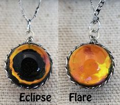 Pocket Universe Necklace Eclipse on one side and Solar Flare on the other by Fractured Infinity FracturedInfinity.etsy.com Space Jewelry, Infinity, Flare, Universe, Pendant Necklace, Drop Earrings, Pocket, Etsy, Infinite