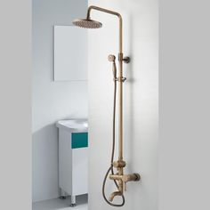 Buy Antique Brass Single Handle Wall Mount Rain + Handheld Shower Faucet with Lowest Price and Top Service! Tub And Shower Faucets, Bathroom Faucets Waterfall, Bathroom Faucets, Brass Bathroom Fixtures, Shower Heads, Shower Faucets, Shower Taps, Shower Tub, Brass Bathroom