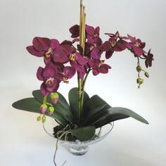 Fuschia Pink Orchid Artificial Flower Arrangement