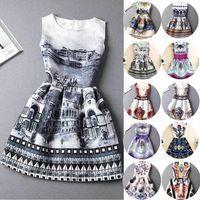 2015 nuevas promociones de europa y los estados verano A-Line mujeres Casual Vestidos Vintage impresión sin mangas Vestidos vestido