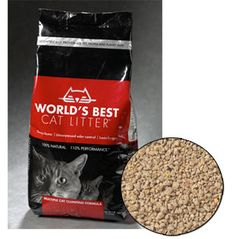 World's Best Cat Litter - seriously THE BEST litter I've ever used. All natural, no dust, clumps great, amazing odor control, and it doesn't turn to cement on the bottom of the pan or on my kitty's paws.
