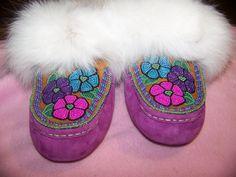 Ugg Moccasin's with beaded moosehide tops trimmed with arctic fox fur. Alaska native beadwork by Liisia Carlo Edwardsen