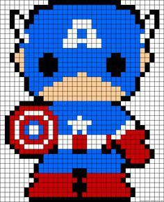 Feature Friday Captain America perler bead pattern I think it would work for a cross-stitch pattern.Captain America perler bead pattern I think it would work for a cross-stitch pattern. Beaded Cross Stitch, Cross Stitch Embroidery, Cross Stitch Patterns, Pearler Bead Patterns, Perler Patterns, Loom Patterns, Crochet Patterns, Perler Bead Art, Perler Beads