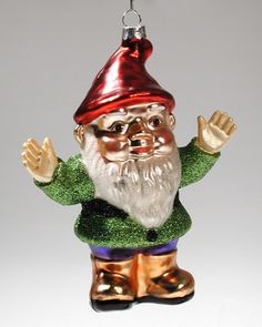 Blown Glass Christmas Tree Ornament ~ GARDEN GNOME   eBay