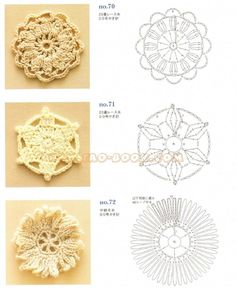 Crochet squares, triangles, circles, flowers, fruit, snowflakes, borders ... Online PDF. #Japanese #crochet #book