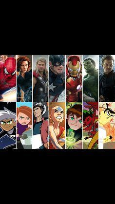 Cartoon Superheroes as Avengers Avengers Alliance, Avengers Art, Classic Cartoon Characters, Classic Cartoons, Cartoon Net, Yandere Simulator Memes, Heroes United, Generator Rex, American Dragon
