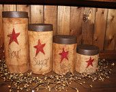 Primitive Star Grubby Jar Canister 4 piece Set-Flour, Sugar, Tea-primitive labels in your choice of wording and color
