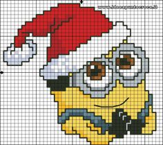 Christmas Minion 2 of 4 Santa Cross Stitch, Cross Stitch Cards, Cross Stitching, Cross Stitch Embroidery, Minion Noel, Minion 2, Minion Christmas, Pixel Art Noel, Cross Stitch Designs