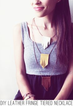 DIY : In Honor Of Design: DIY: Leather Fringe Tiered Necklace