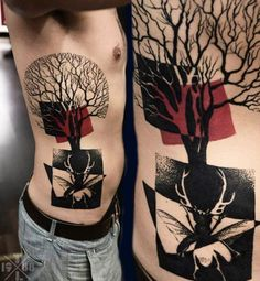 Blackwork graphic tattoo with negative space insect by Timur Lysenko.