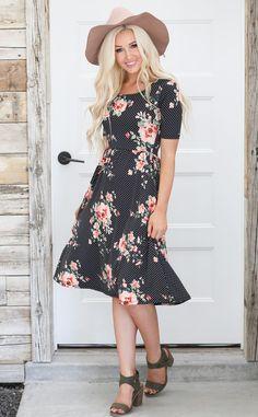 f3e63228bb Natalie Modest Dress in Black   White Polka Dot w Coral Floral Print