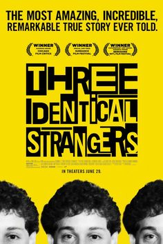 Don't miss the Sundance Special Jury Price Winner THREE IDENTICAL STRANGERS, playing July 16-26 at the AFS Cinema! The documentary is stranger than fiction, be prepared to have your mind blown. Feel Good Stories, True Stories, Bollywood, Ted Bundy, Chicago, Renee Zellweger, 2018 Movies, Disney Movies, Movies Online
