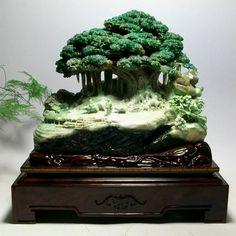Chinese xinjiang hetian green jade sculpture crane kylin pendant