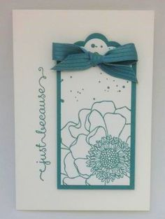 Stampin' Up! ... handmade card ... matted tag focal point ... teal and white ... flower as line art looks great in colored ink and off the edges ... one layer card ...