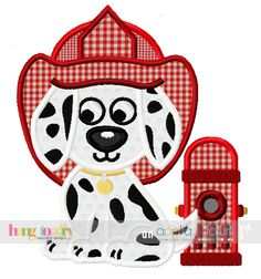 Hang to Dry Applique - HTD Fireman Dog, $3.99 (http://www.hangtodryapplique.com/htd-fireman-dog/)