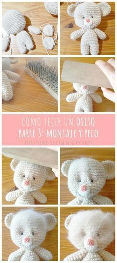 How to crochet a beautiful bear (free pattern) and how to make it hairy (PART Brushing technique /// Como tejer oso amigurumi (Patrón gratis) y hacerle pelo. Crochet Teddy, Crochet Bear, Cute Crochet, Crochet Crafts, Crochet Dolls, Yarn Crafts, Crochet Projects, Amigurumi Tutorial, Amigurumi Patterns
