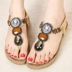 Jewels Toe-Knob Bohemian Beach Sandals For Girls Comfortable Flats Shoes