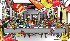 Tomoko Nagao - Leonardo da Vinci-The Last Supper with MC, easyjet, coca-cola, nutella, esselunga, IKEA, google and Ladygaga