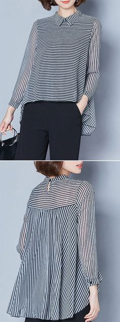 Newchic | long-sleeved blouse with lapels and full back panel gathered into yoke in black-striped polyester | from Newchic.com | 2018