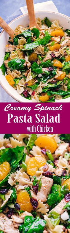Creamy Spinach Pasta Salad with Chicken - The Food Cafe.  Weight Watchers Recipes (Family)