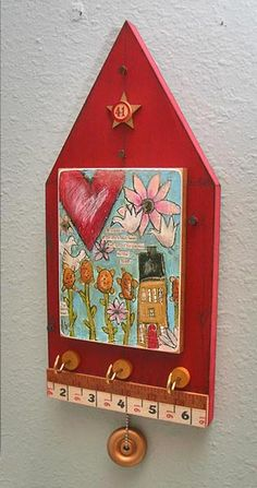 Jewelry and Trinket Houses - Lisa Kaus Home Crafts, Diy And Crafts, Arts And Crafts, Snow Crafts, Arte Country, Box Houses, Wooden Crafts, Mixed Media Canvas, Little Houses