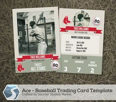 Ace Baseball Trading Card 2.5 x 3.5 Photoshop by SaunterStudios