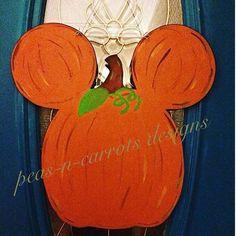 Mickey Mouse Pumpkin Wooden Door Hanger Peas-N-Carrots Designs