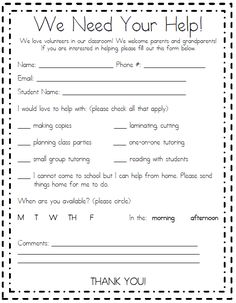 Parent Volunteer Form for Meet the Teacher Parent Volunteer Form, Parent Teacher Communication, Parent Forms, Parent Involvement Ideas, Volunteer Ideas, Teacher Forms, Student Volunteer, Back To School Night, School Fun