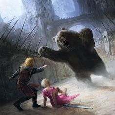 The Bear Pit - Jaime saves Brienne from the bear at Harrenhall. Art by Marc Simonetti.